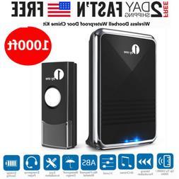 1byone 1000ft Long Range Wireless Doorbell Chime Kit Door Be