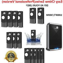 1byone 1000ft Long Range Wireless Doorbell Push Button Home
