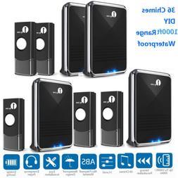 1byone 1000ft Range Twin Wireless Doorbell 36 Chimes Kit Doo