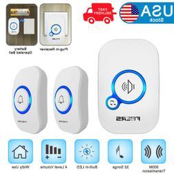 1000FT Wireless Smart Doorbells Battery 2 Remote Button+1 Pl