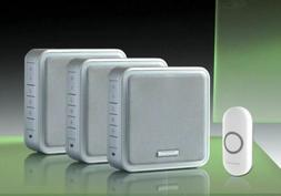 Honeywell 200m Triple Wireless Doorbell kit, Silver/Recordab