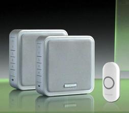 Honeywell 200m Twin Wireless Doorbell kit, Silver/Recordable