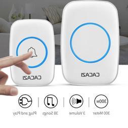 300M Remote Waterproof LED Wireless Doorbell 38 Songs Chime