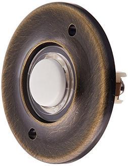 Baldwin 4851050 Round Bell Button, Antique Brass
