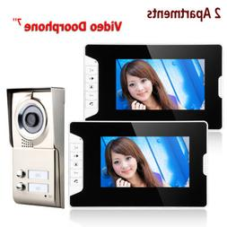 """7""""Inch Wired TFT 2 Apartments Video Door Phone Intercom with"""