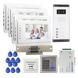 "7"" Video Intercom Door Phone Doorbell Access System for 4 Ho"