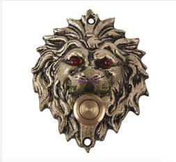 brass door bell ring push button lion