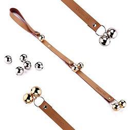 Brown Leather Strap Dog Doorbells, Golden and Silver Bells,