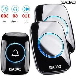CACAZI 60 Chime 110DB Wireless Waterproof Doorbell with Remo