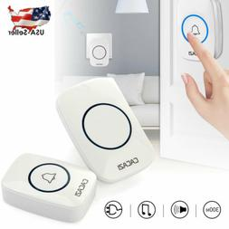 CACAZI White 100-240V Wireless Doorbell Waterproof 300M Rang