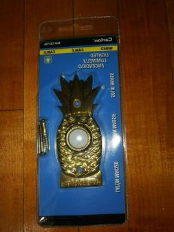 "Doorbell Pineapple Carlon Solid Brass Lighted 3.5"" New in Pa"