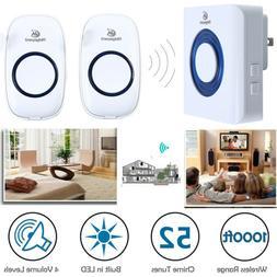 Electric Wireless Doorbell 1000FT 52 Tunes 4 Volumes w/1 Rec