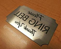 Engraved ~ Please RING BELL Silver Wall Door Sign Small Busi