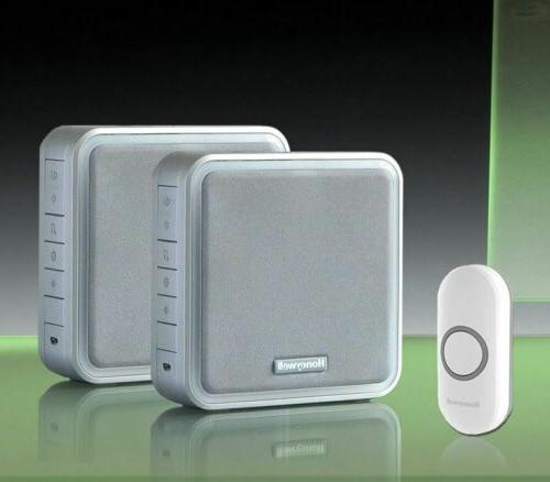 200m twin wireless doorbell kit silver recordable