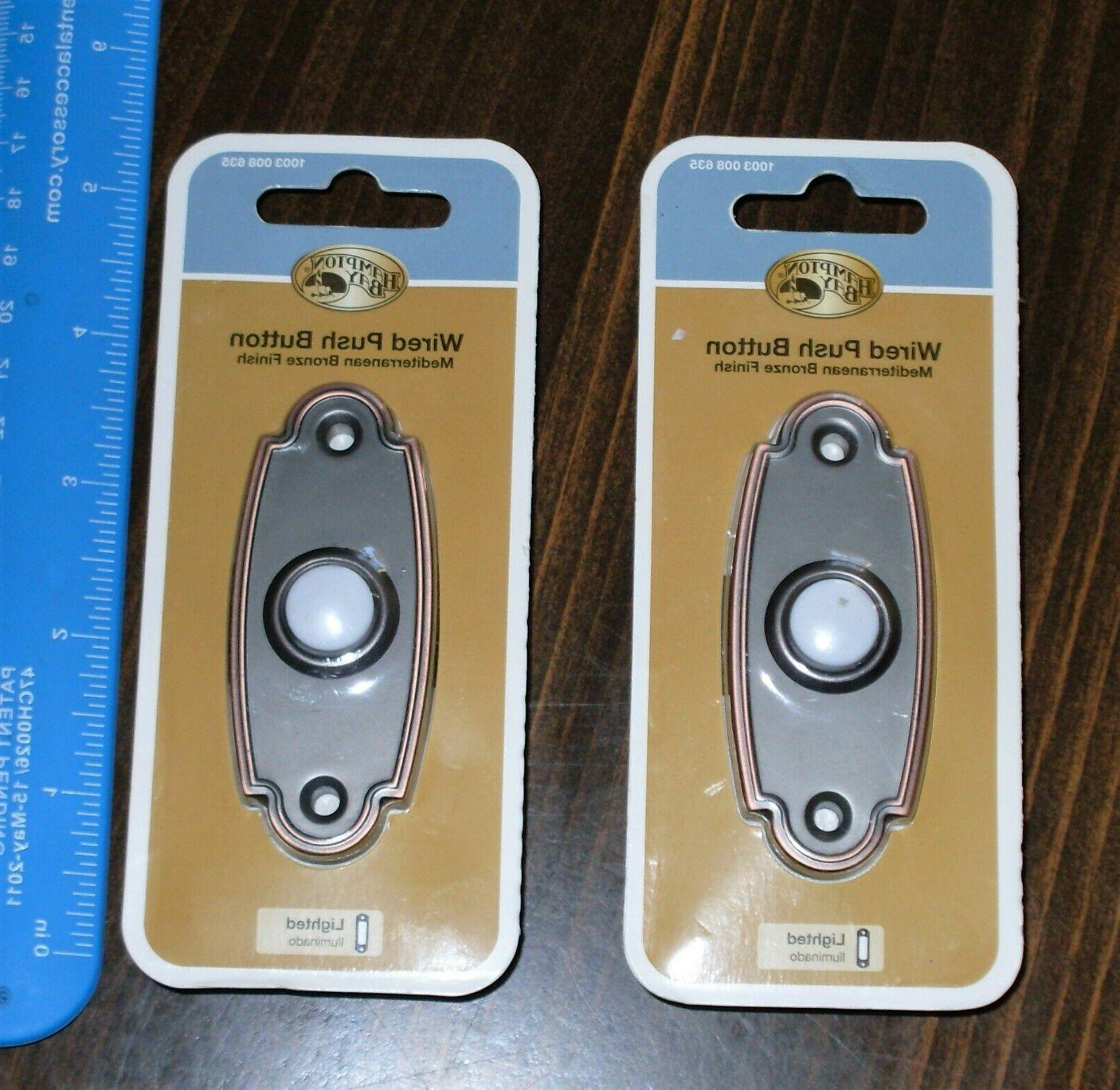 2x wired lighted door bell push button