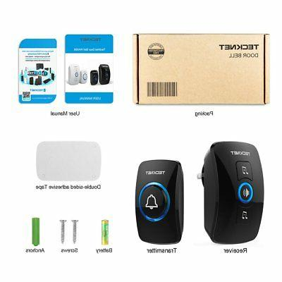 Wireless Doorbell, TeckNet Waterproof Wireless Door Chime Kit with LED