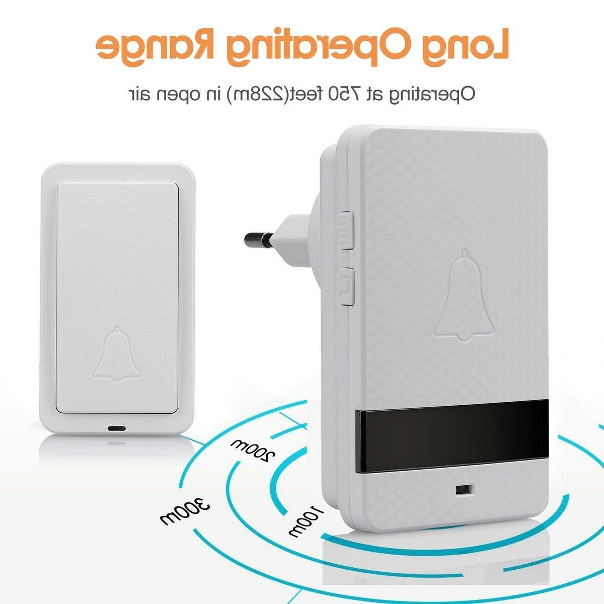 1000ft Wireless Twin Wall Plug Waterproof Cordless Chime US