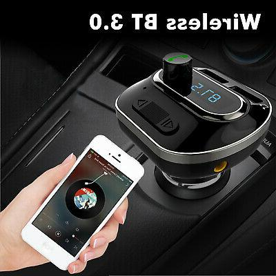 Wireless Bluetooth Auto Car Audio FM Adapter Charger