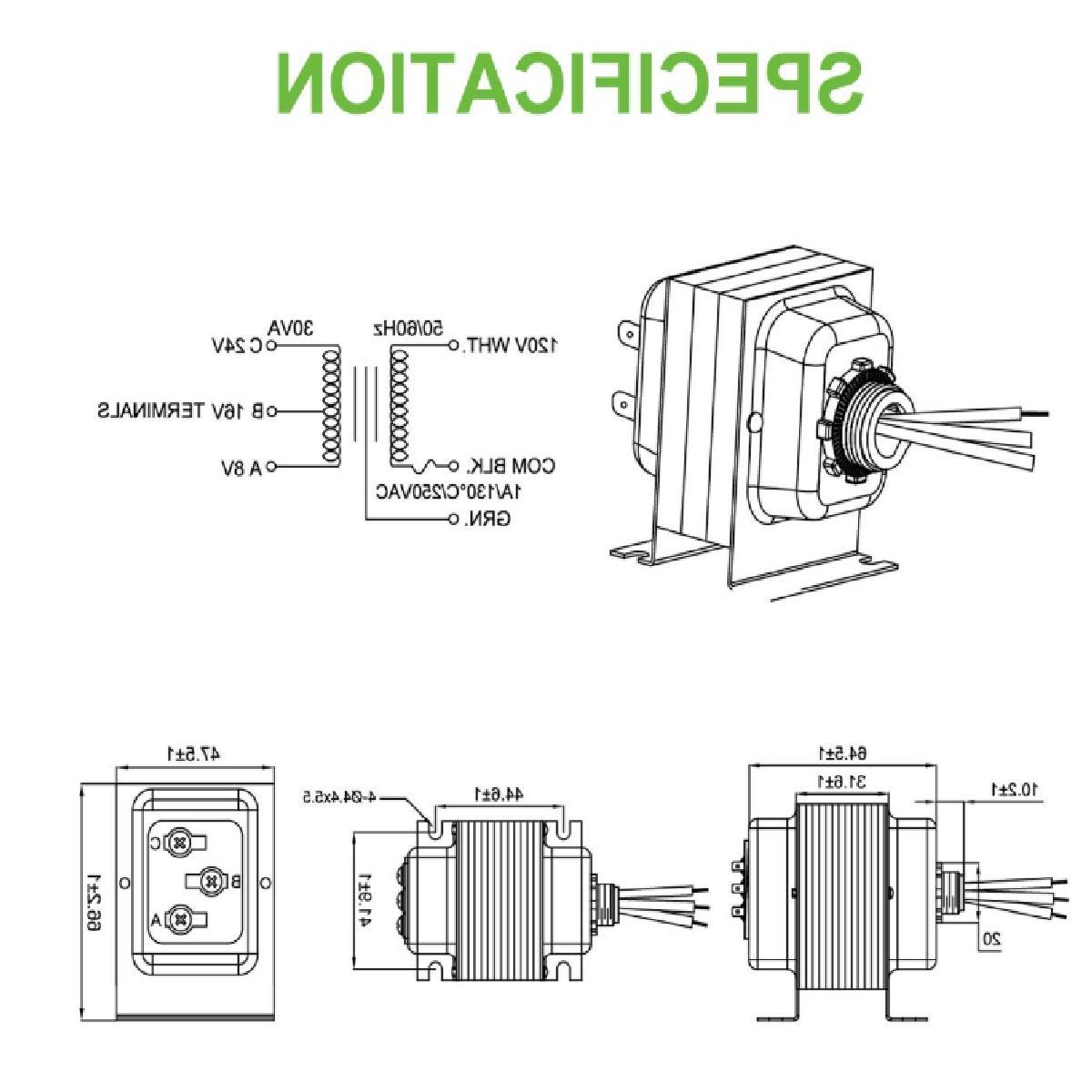 Doorbell Transformer, 20-30VA Comptible with Doorbell