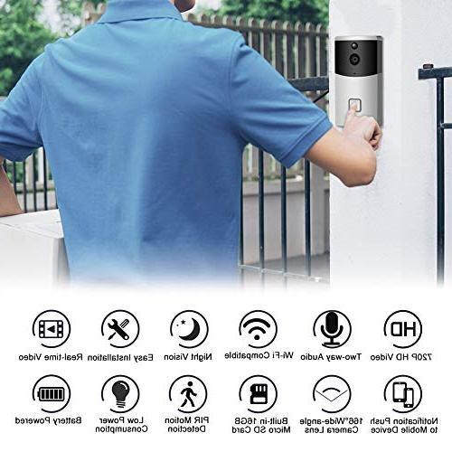 Video Doorbell AUNEX Doorbell Detection HD Wireless Doorbell Security with Support Android and iOS