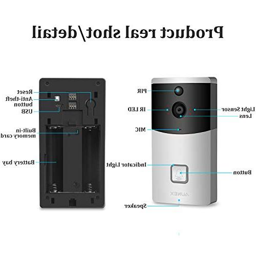 Video Doorbell Camera PIR Motion Detection Storage 720P HD Security Two-Way & Video Support iOS