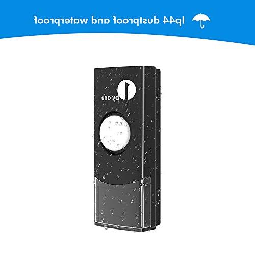 1byone Easy Wireless Doorbell Kit, 1 with Flash, 36 Melodies Choose, Operated, Black