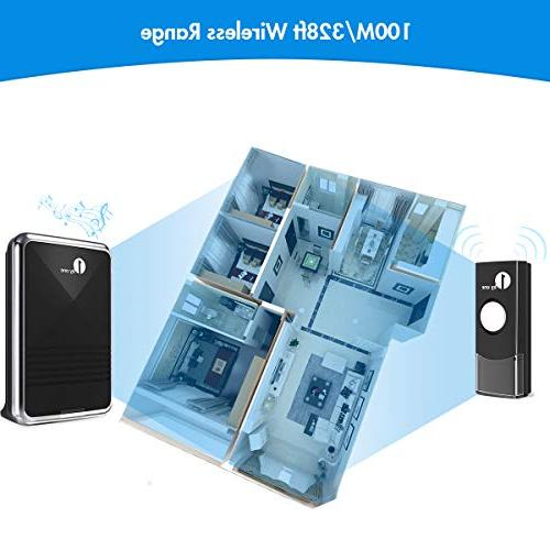 1byone Easy Chime Doorbell Receiver & Push Button with Flash, 36 Melodies Choose, Battery Operated,