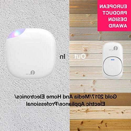 1byone Easy Wireless Doorbell Operating 500 Quality Sound LED 6 Levels 36 Chimes,