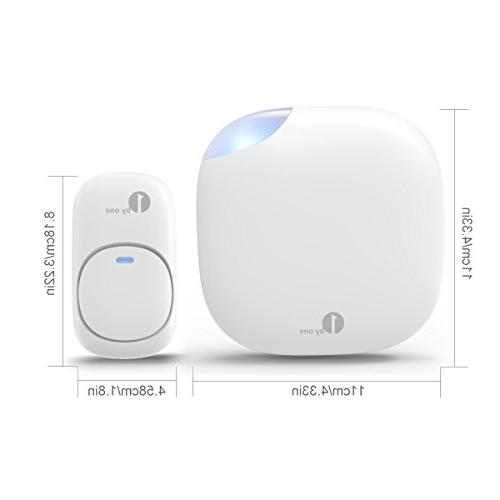 1byone Chime Wireless Doorbell Operating at 500 feet, Sound LED 6 Levels Chimes, White