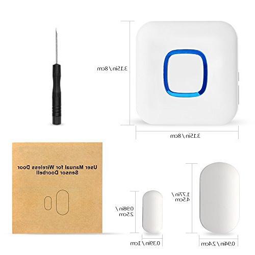 HEHUI Expandable Door Open Chime Alarm Operating in Range 600 feet/52 4 Volume/LED /1 Door Sensor & Receiver