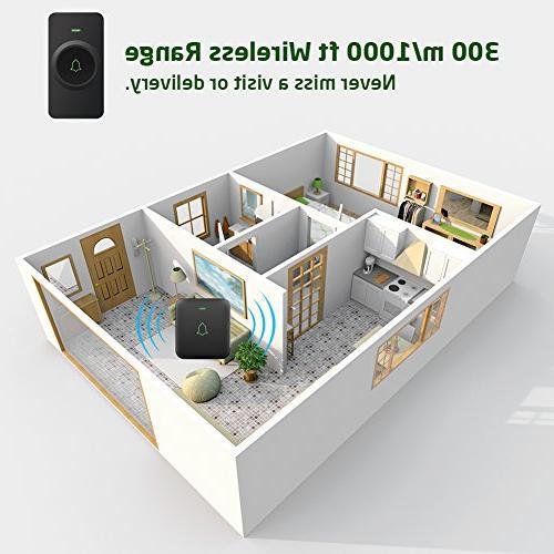 Wireless Door Bell, AVANTEK Mini Waterpoof Operating with Volume Flash