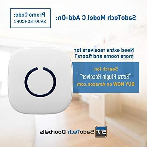 SadoTech C Wireless Doorbell over 500-feet Over 50 Chimes, Batteries Required