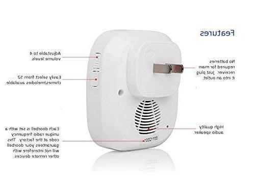 SadoTech C Doorbell 500-feet 50 Chimes, Batteries Required