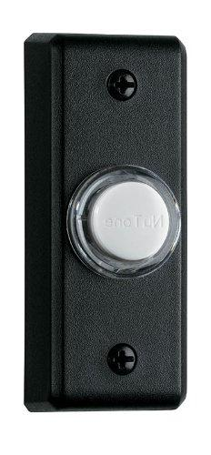 NuTone PB69LBL Wired Lighted Door Chime Push Button, Black