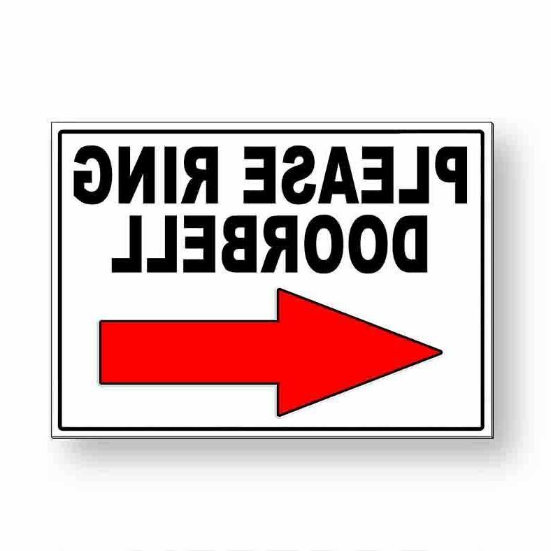 please ring doorbell arrow left metal sign
