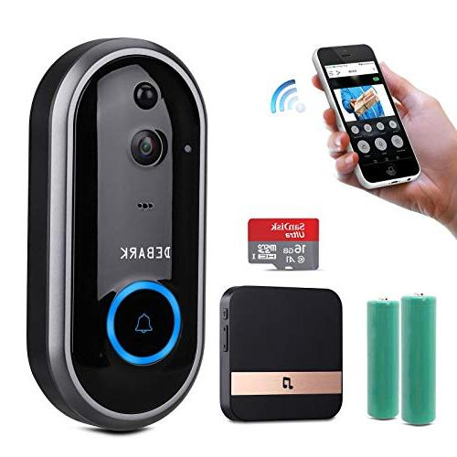 DEBARK Wireless WiFi Camera with Free Service, 2 Batteries, Vision, PIR Motion APP Android Google