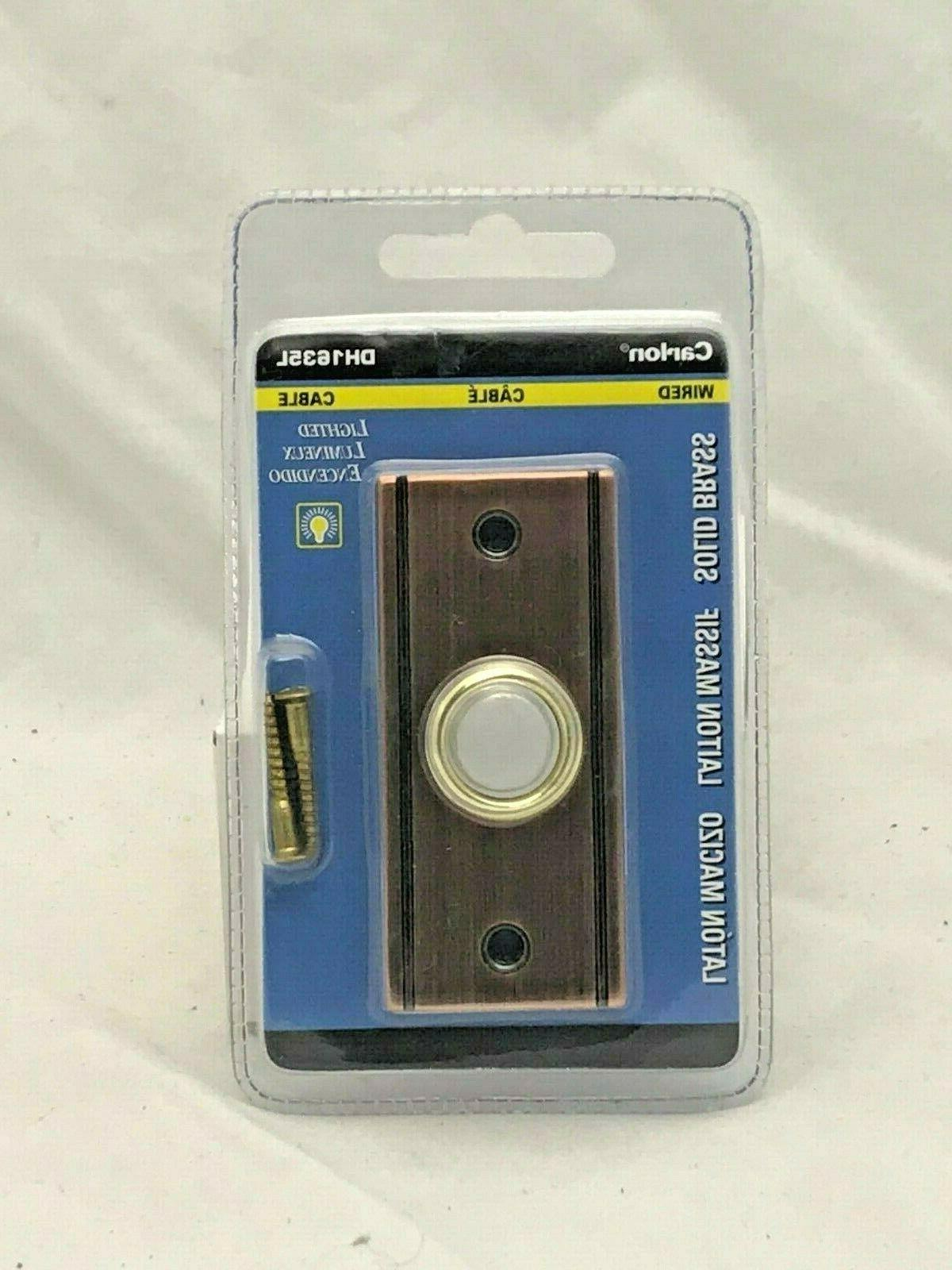 solid brass rectangle lighted button doorbell wired