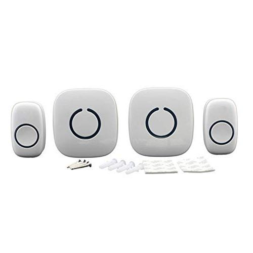 STARPOINT Wireless Multi-Unit Long Doorbell Alert System, Base Receivers 2 White