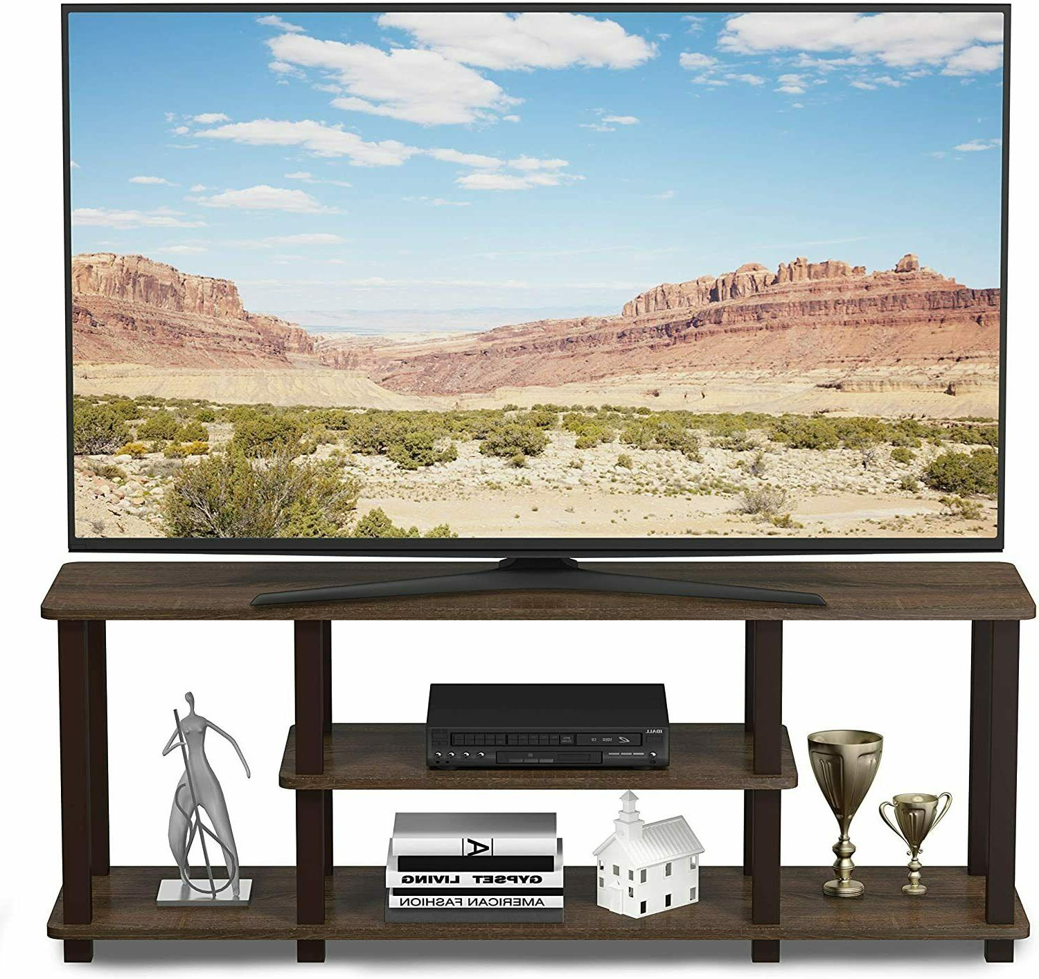 Furinno Turn-N-Tube 3D 3-Tier Entertainment TV Stands, Walnut
