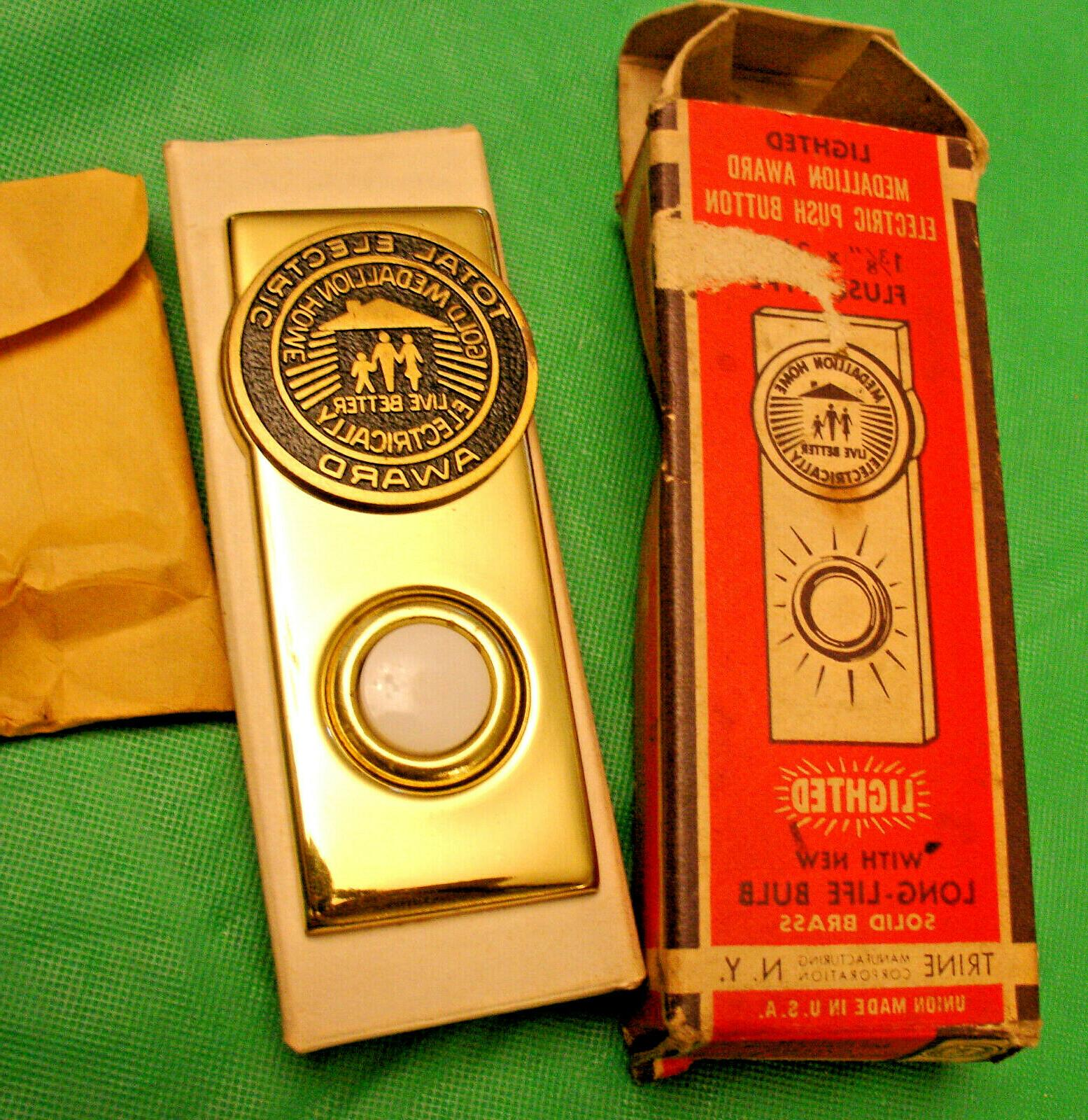 Vintage 1960 Total Electric Gold Medallion Home Doorbell