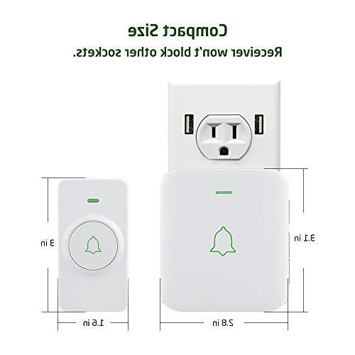 Wireless Door Mini Waterpoof Doorbell Operating at 1000 with 5 Volume Flash