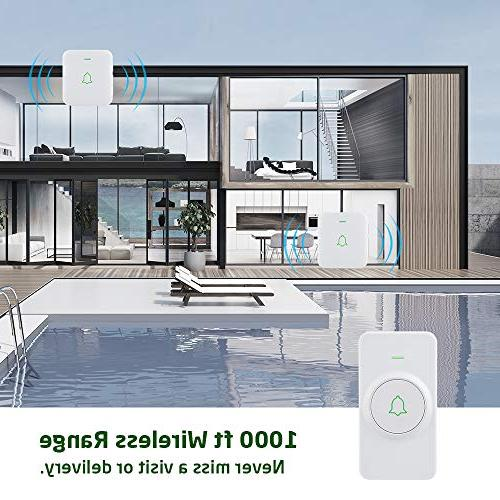Wireless Door Bell, AVANTEK Mini Chime Operating at 1000 with Volume Flash