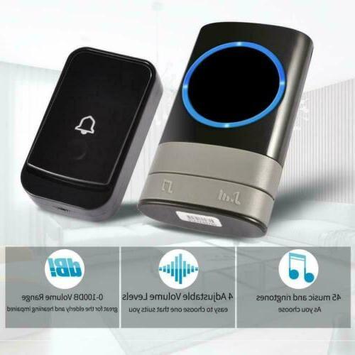 Wireless Door Doorbell Loud Chime 1Transmitter+2