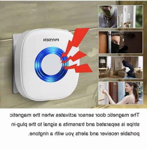 PHYSEN Wireless Door/Window Chime with 3 Magnetic Door