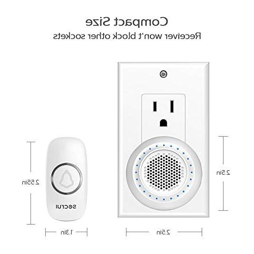 Wireless Doorbell Chime 1000 Feet Volume Levels Mute Mode Support Expansion for Classroom Office -