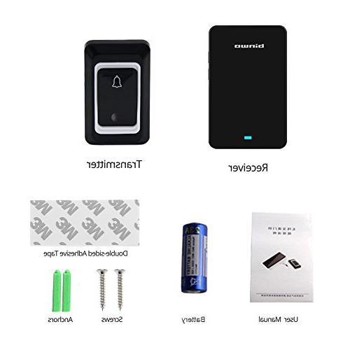 Binwo Wireless Doorbell, Waterproof Door with 1 1 Plug-In Range Quality Chime Level