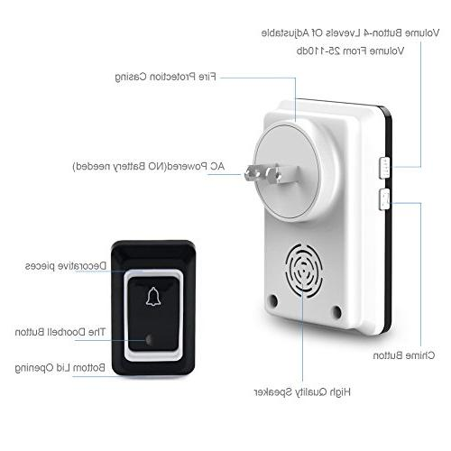 Binwo Door Bell with 1 Button 1 Plug-In Receiver,1000 Range Chime and 4 Volume Level