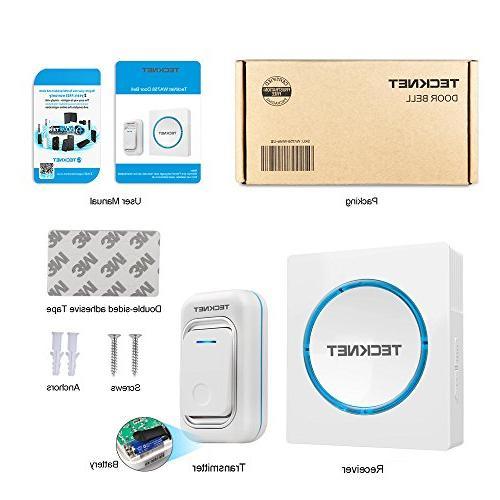Wireless Doorbell, TeckNet LED Door Kit Button 1 Plug in at over 48 Chimes