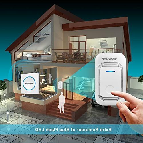 Wireless Doorbell, TeckNet LED Door Chime Kit with Button 1 in Receiver, Operating over 200m/656ft 48