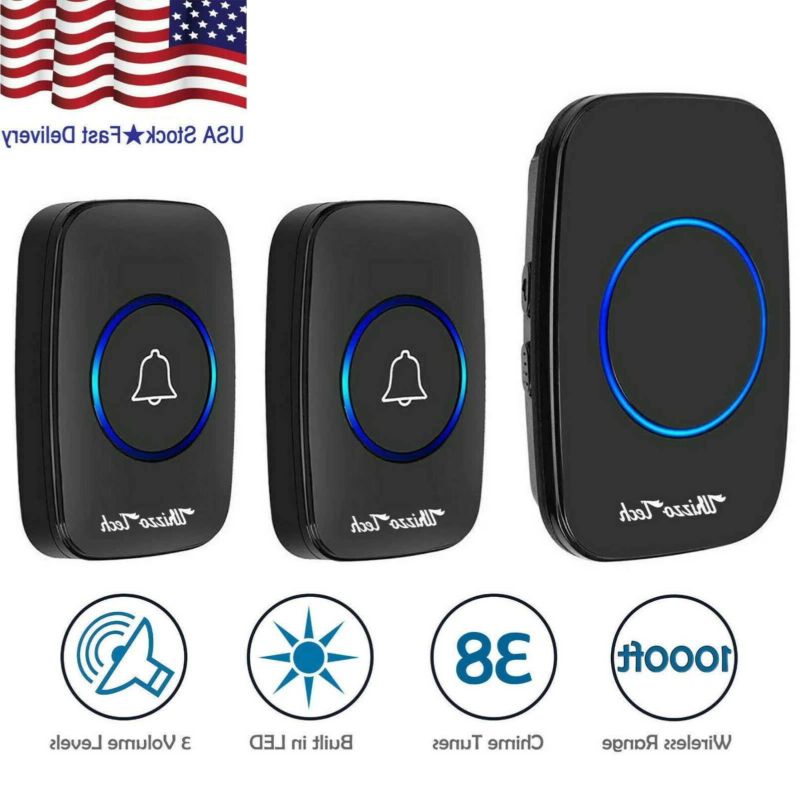 wireless doorbell battery operated 2 remote button